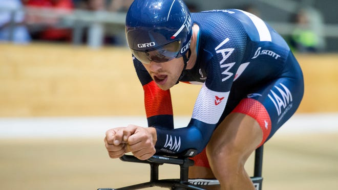 Brandle rides during his attempt to break the hour record at the Union Cycliste Internationale World Cycling Centre velodrome in Aigle, Switzerland.