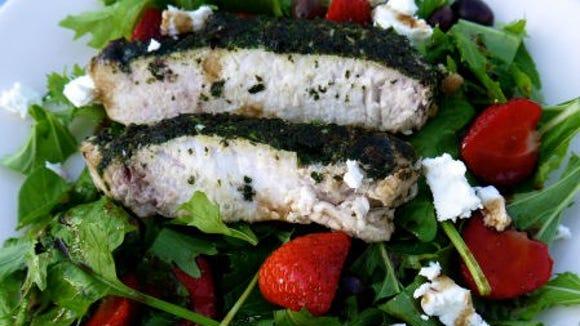 Swordfish and strawberry salad.