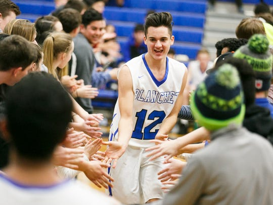 Blanche's RJ Veliz takes to the court before a game against Salem Academy on Tuesday, Jan. 24, 2017, at Blanchet Catholic School. Salem Academy won the matchup 53-42.