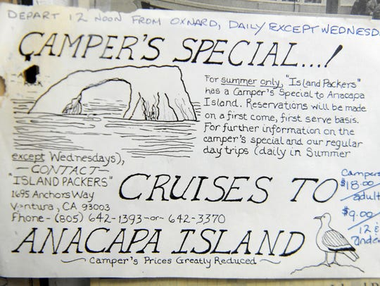 An old flier made by Island Packers founder Bill Connally