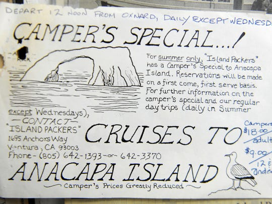 An old flier made by Island Packers founder Bill Connally offers a cruise to Anacapa Island. Connally started the company to provide a means for people to venture out to the Channel Islands. It has been in business for 50 years.