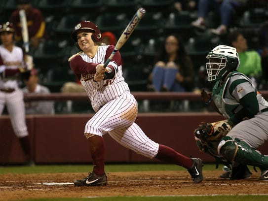 FSU's Jessica Warren makes contact with a pitch against