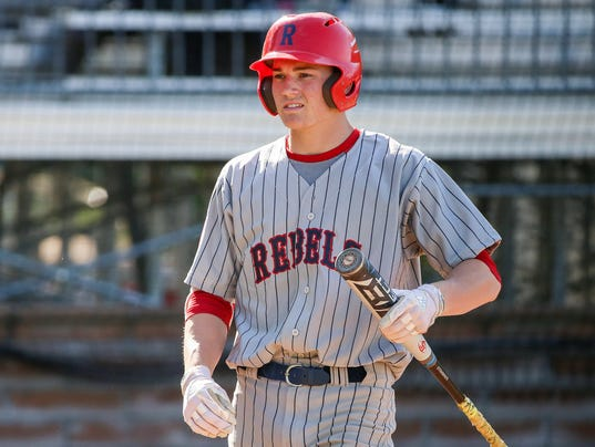 Nick Schnell (7) at bat during Roncalli Rebels baseball versus Franklin Grizzly Cubs in Marion County quarterfinals