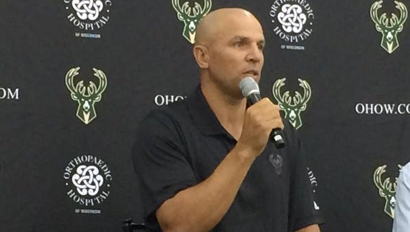 Jason Kidd talks to the media at Milwaukee Bucks Media Day on Sept. 28, 2015.