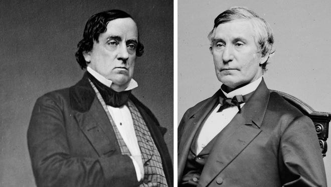Lewis Cass, left, and Jacob Howard, right.