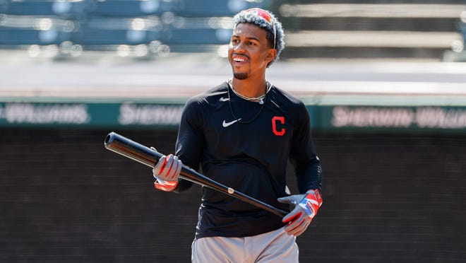Cleveland Indians' Francisco Lindor prepares to bat during baseball practice at Progressive Field, Monday, July 6, 2020, in Cleveland.