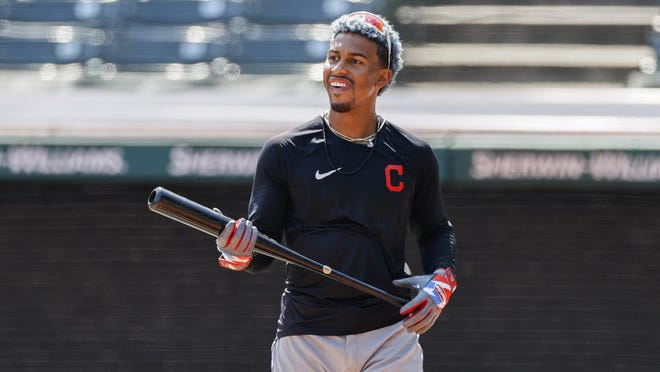 Cleveland Indians' Francisco Lindor prepares to bat during practice at Progressive Field in Cleveland on Monday.