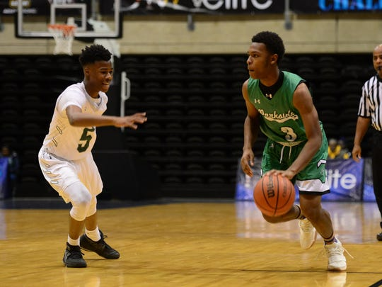 Parkside's Jalen Deloach brings the ball down the court during the game against CH Flowers during the Governor's Challenge at the Wicomico Civic Center on Tuesday, Dec. 26, 2017.