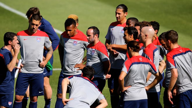 USA midfielder Landon Donovan (center) in the huddle with his team during team practice at Sun Devils Stadium.