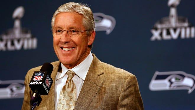 Seattle Seahawks head coach Pete Carroll addresses media at Westin Jersey City.