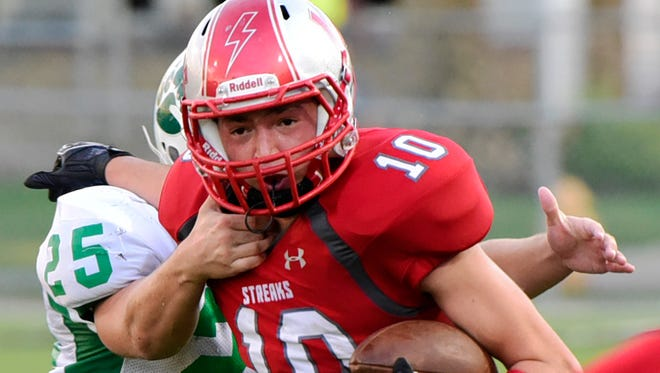 SJCC's Zach Militello had 14 catches for 248 yards against Margaretta.