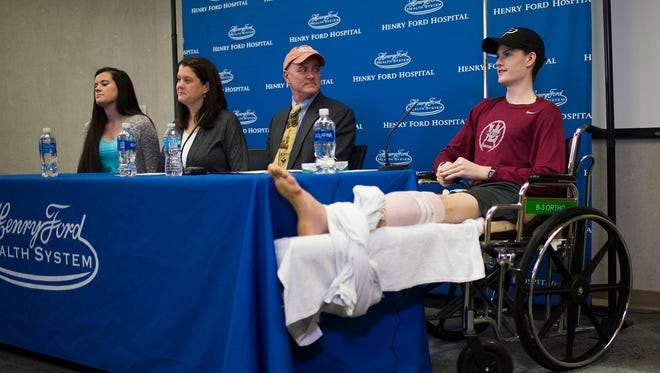 Sean English, 16, said during a news conference Monday, May 1, 2017, at Henry Ford Hospital in Detroit that he still hopes to attend Purdue University, where he had hopes of getting a running scholarship, before the car accident that cost him his right foot. His leg was amputated below the knee.