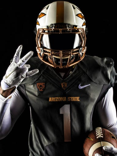 ASU unveiled a new 'Desert Fuel' uniform option on Aug. 18, 2014. The uniform encompasses two colors: copper and anthracite. The pitchfork remains dominant, and the numbers keep their font and include a fade, similar to the black uniforms, from copper to white. The team will wear all-white gloves and cleats with the uniforms.