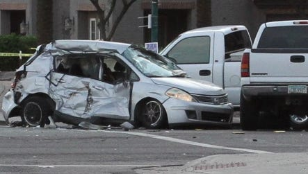 Phoenix police were at the scene of a crash at 24th Street and Southern Avenue on Friday evening. Five vehicles were involved, police said.