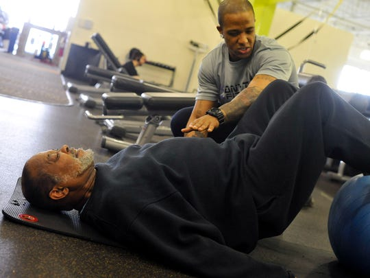 When Harry Bryant, 67, of Bear, left, first began working with his personal trainer, Brendan Brown, 35, of Bear, left, at Anytime Fitness in Bear in April, he wasn't able to do a normal step up without some assistance. Prompted by complications with Type II Diabetes, Bryant began working out four days a week to get his disease under control and eliminate insulin injections and his progress has been monumental.