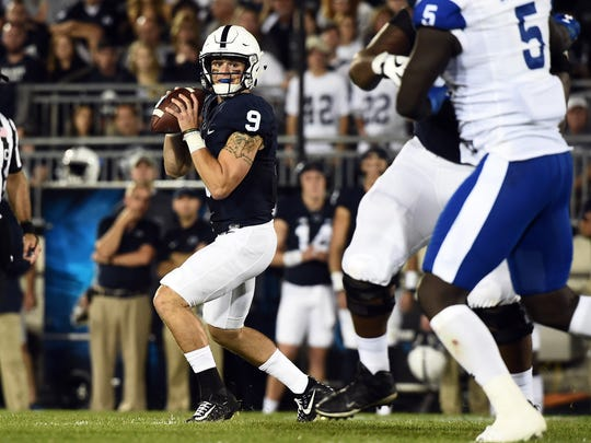 Penn State's Trace McSorely looks for a receiver, Saturday, September 16, 2017. The Nittany Lions beat the Panthers, 56-0.