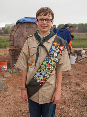 St. George resident, and 13-year-old boy scout, Benjamin Owen completes his final project in preparation for his Eagle Scout award Friday, May 6, 2016.