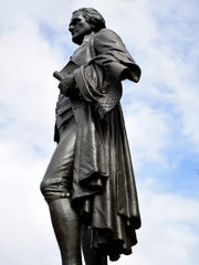 The Alexander Hamilton statue sculpted by Franklin Simmons in 1905 is at the Great Falls in Paterson.
