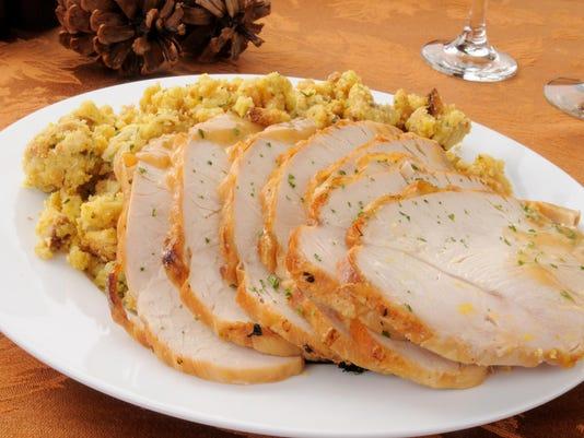 Sliced turkey and dressing