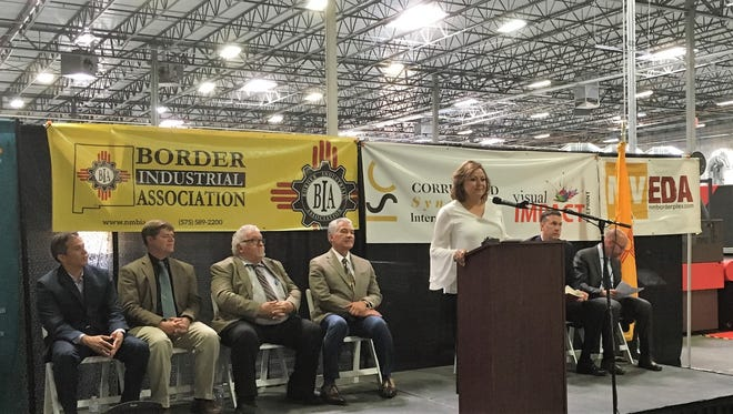 Gov. Susana Martinez, at podium, spoke at a ribbon-cutting for Corrugated Synergies International in Santa Teresa on June 11.