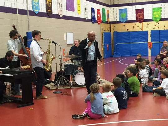 Lawrence University jazz students, along with their professor, Jose L. Encarnacion, bought an interactive performance to Mrs. Josephson's music class at Menasha's Nicolet Elementary School. The Lawrence students taught Nicolet students rhythms so they could perform along with the jazz quintet.