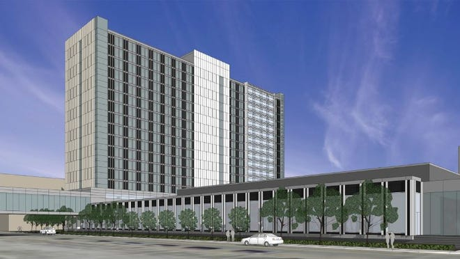 This rendering shows the proposed $130 million Events Center convention hotel in Des Moines.