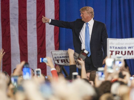 Donald Trump addresses supporters during a campaign