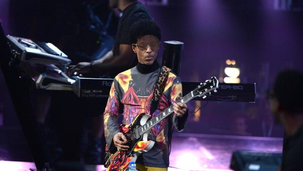 LAS VEGAS, NV - SEPTEMBER 22:  Musician Prince performs onstage during the 2012 iHeartRadio Music Festival at the MGM Grand Garden Arena on September 22, 2012 in Las Vegas, Nevada.  (Photo by Michael Kovac/Getty Images for Clear Channel)