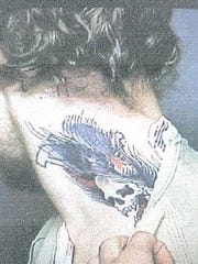 A photo of the tattoo of David D. Mitchell, 31, who