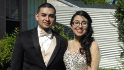 Eddie Herrera and Jacqueline Gomez on prom day in May.