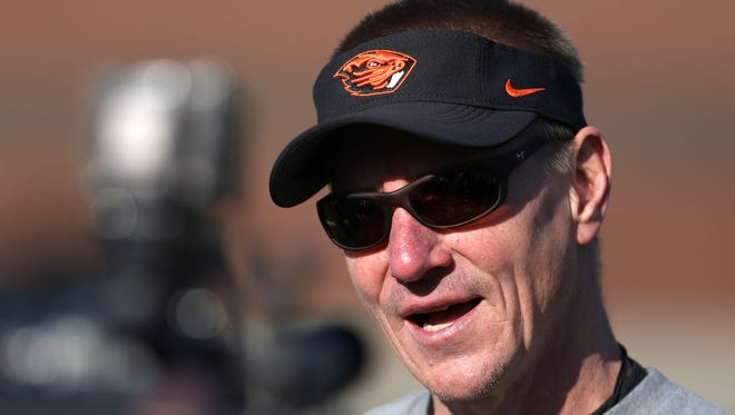 Oregon State Head coach Gary Andersen talks with media after the first day of spring practice on Tuesday, March 3 , 2015, in Corvallis, Ore.