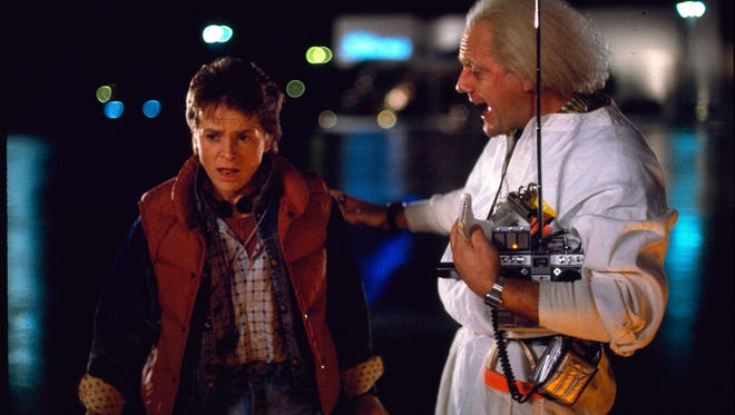 "Fans will celebrate Wed., Oct. 21, 2015, the day Michael J. Fox as Marty McFly and Christopher Lloyd as Dr. Emmett Brown traveled to the future in ""Back to the Future, Part II."""