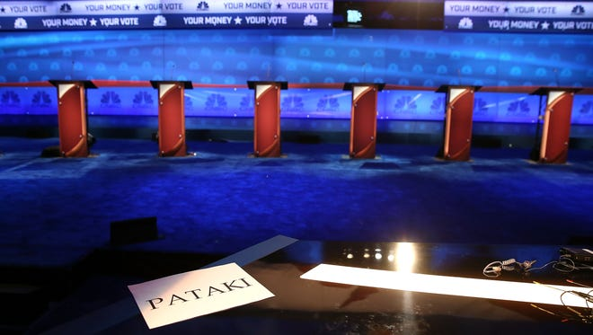 BOULDER, CO - OCTOBER 27:  A sign for former New York Governor George Pataki sits on a desk as the stage is prepared for the CNBC Republican presidential debate at the University of Colorado October 27, 2015 in Boulder, Colorado.  The 14 Republican presidential candidates will take part in theird republican debate that will be broken into two debates October 28.  (Photo by Justin Sullivan/Getty Images)