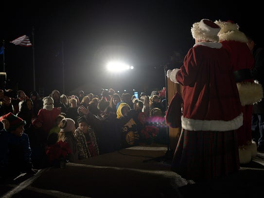 Santa and Mrs. Claus arrive at Westland City Hall.