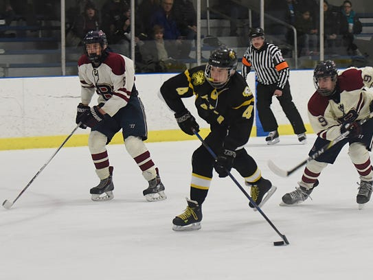 Junior forward Tallon Brehmer (middle) scored the first