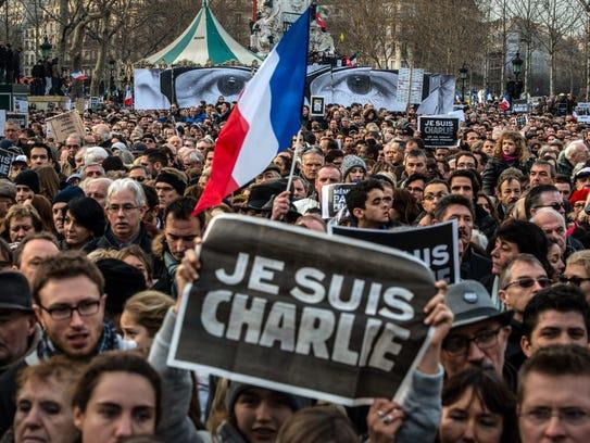 On Jan. 11, 2015, demonstrators in Paris make their