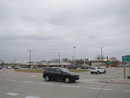 The roundabout at 14 Mile and Orchard Lake roads, which