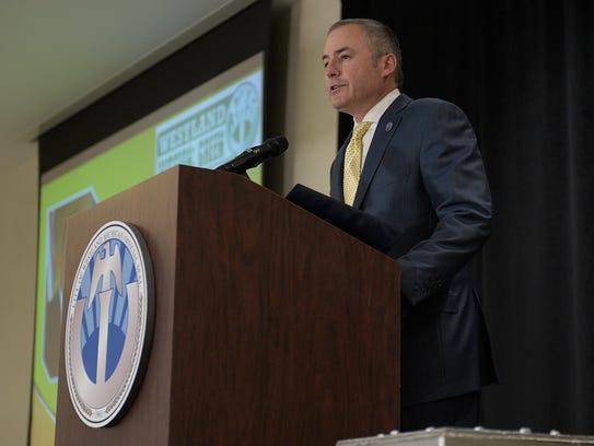 Westland Mayor William Wild speaks during the Earth