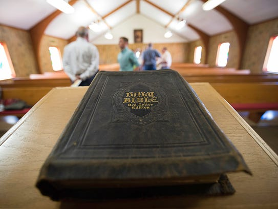 """A bible (the """"Kistler Bible"""") found at the First Baptist"""