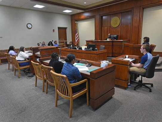 A teen court held at Caddo Juvenile Court Monday night.