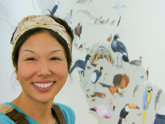 "Jane Kim is almost done making her 70-by-40-foot mural ""From So Simple a Beginning"" at the Cornell Lab of Ornithology."