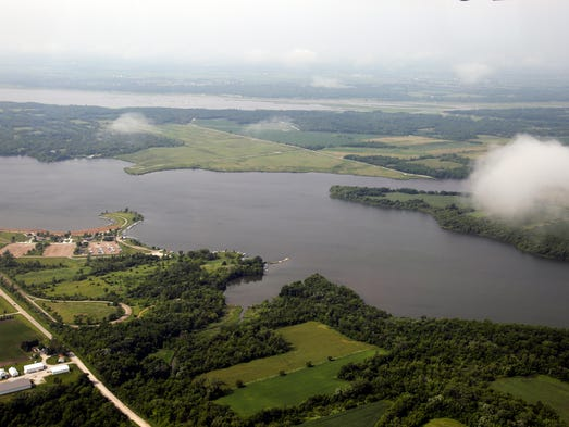 Saylorville Lake is seen from the air on Wednesday, June 18, 2014.