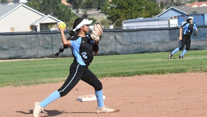Pueblo West High School senior shortstop Tori Cordova guns a runner down during the Cyclones 8-1 victory over East on Sept. 1 at Pueblo West.