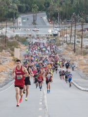 J.J. Santana, of Las Vegas, Nevada leads during the start of the 32nd Tram Road Challenge in Palm Springs, California on October 28, 2017. Santana did not cede the lead and finished first overall.