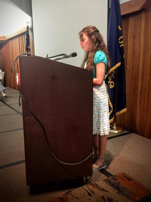 "Sophia Borgstahl, a 7th grade student at Scotts Mills School, delivers her first-prize winning essay of the Oregon Mayors Association: ""If I were Mayor, I would..."""