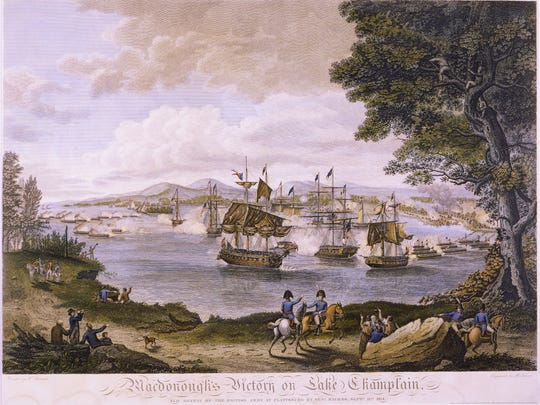 """Macdonough's Victory on Lake Champlain and Defeat of the British Army at Plattsburg by Gen. Macomb, Sept. 11, 1814."" Engraved by B. Tanner from a painting by Hugh Reinagle."