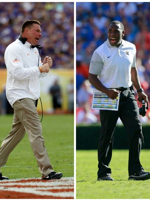 Tennessee's Butch Jones, left, and Vanderbilt's Derek Mason.
