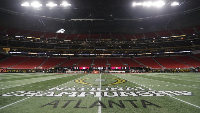 In January 2018, he championship logo is seen on the field at Mercedes-Benz Stadium before the NCAA college football playoff championship game between Georgia and Alabama in Atlanta.