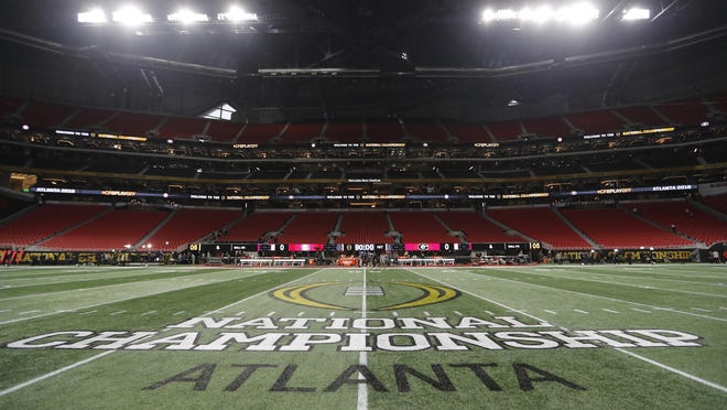 A general view of the field at Mercedes-Benz Stadium before the College Football Playoff championship game between Georgia and Alabama on Jan. 8, 2018, in Atlanta.