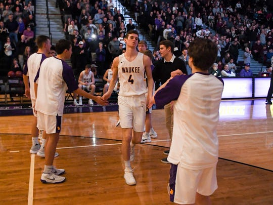 Waukee's Ryan Jones (4) is introduced during a basketball game between the Waukee Warriors and the Dowling Maroons on Tuesday, Jan. 30, 2018 At Waukee High School.